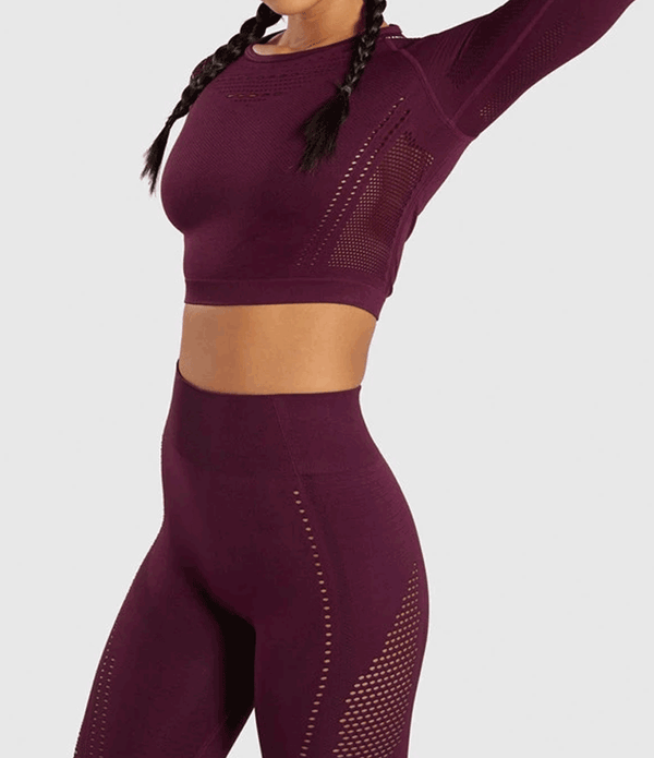 Leonora - Mesh Long sleeve top (Wine)