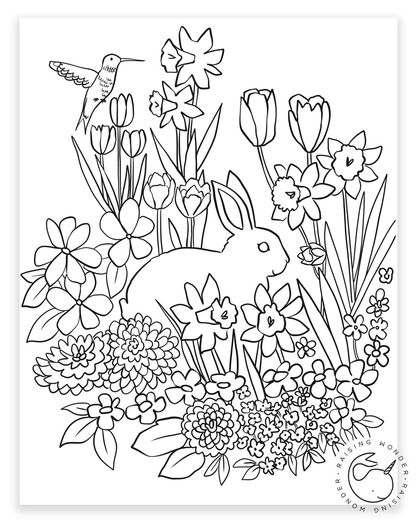 Single Coloring Page-Bunny in Flowers