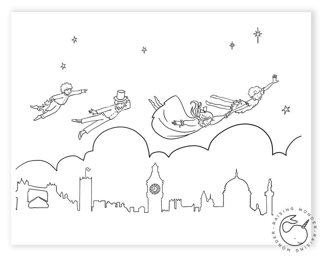 Single Coloring Page-Peter Pan Flying