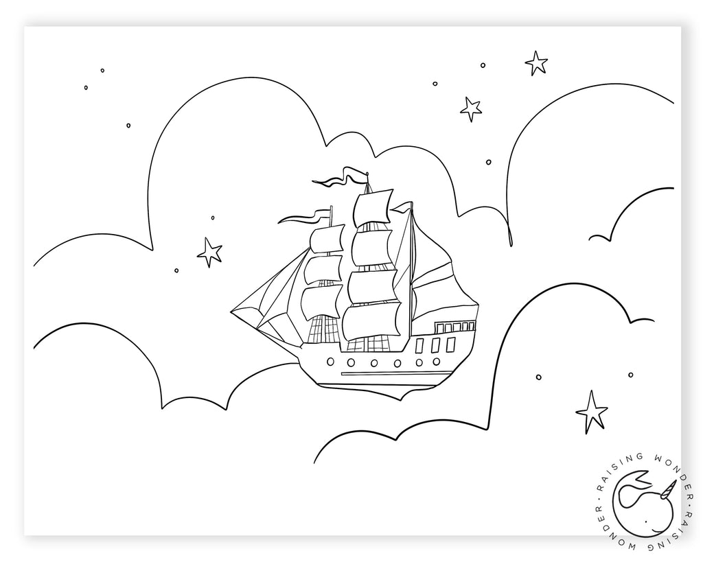 Single Coloring Page-Peter Pan Pirate Ship