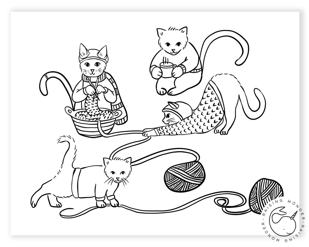 Single Coloring Page-Kitty Knitting