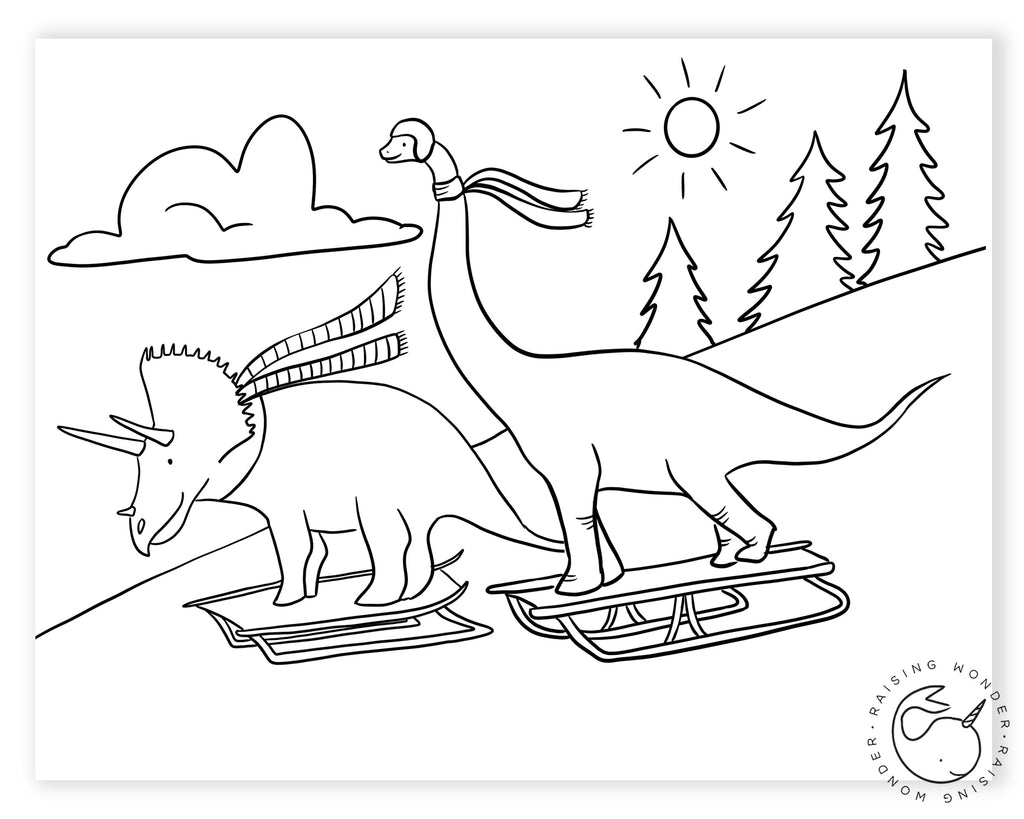 Single Coloring Page-Dinos Sledding