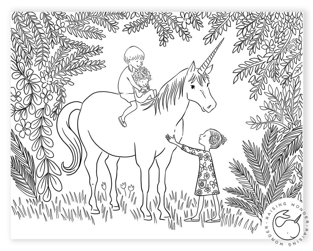 Single Coloring Page-Unicorn and Children