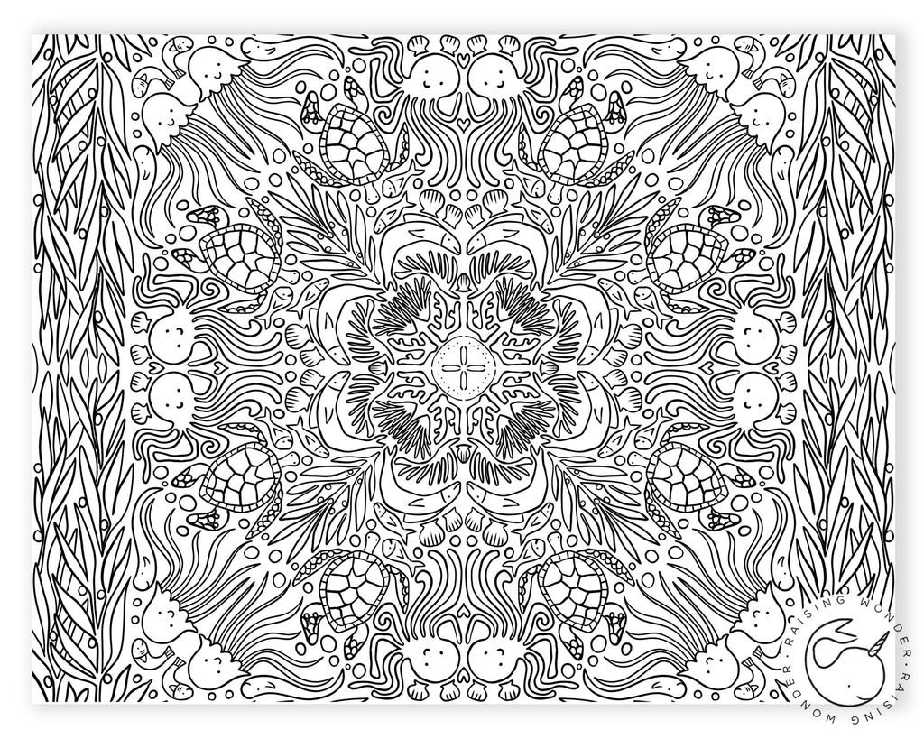 Single Coloring Page-Coral Mosaic