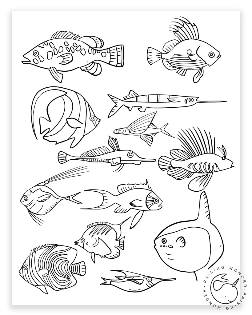 Single Coloring Page-Tropical Fish