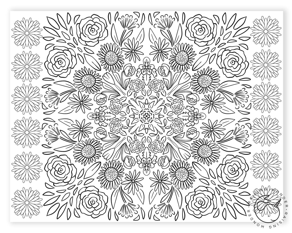 Single Coloring Page-Flower Mosaic