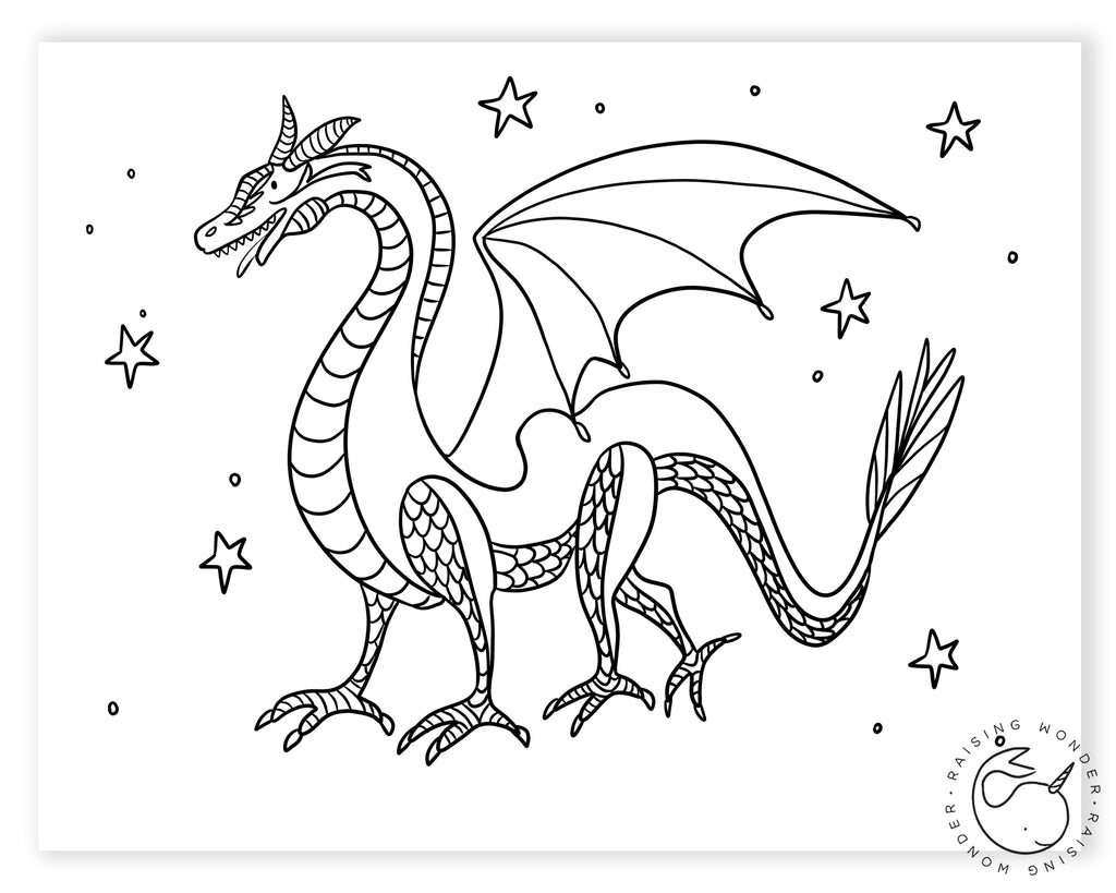 Single Coloring Page-Dragon