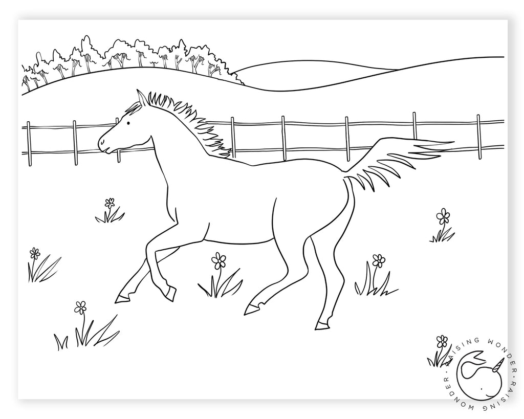 Single Coloring Page-Horse