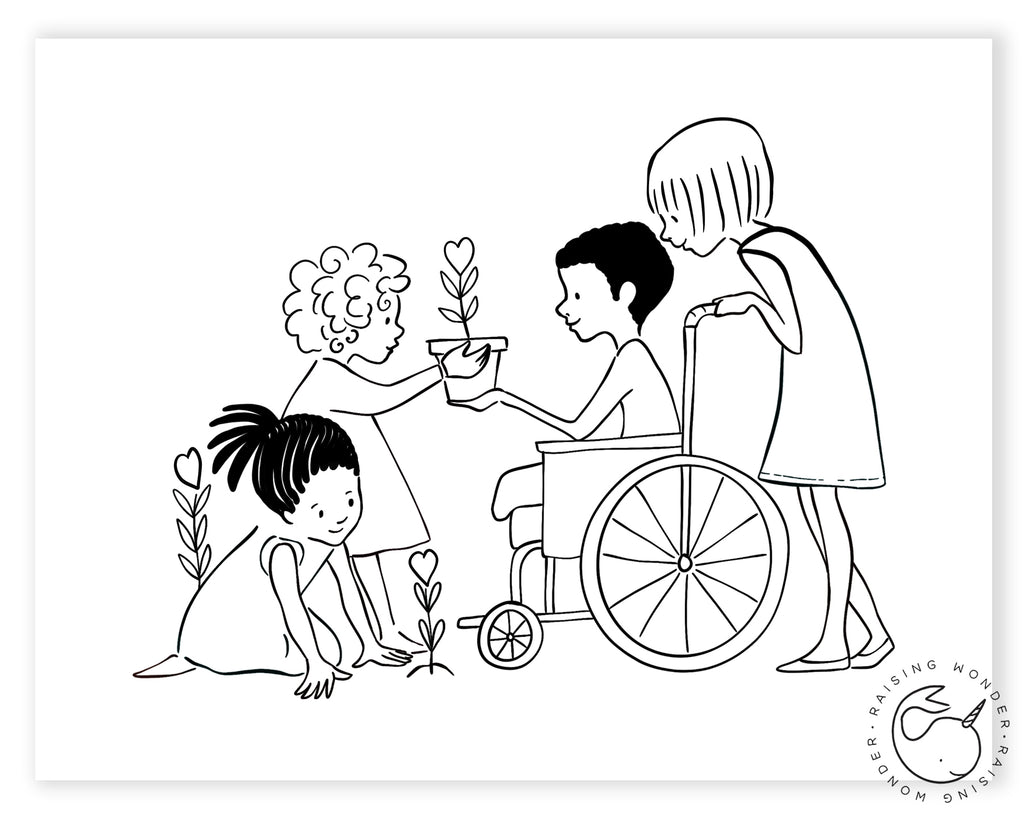 Single Coloring Page-Kids and Wheelchair