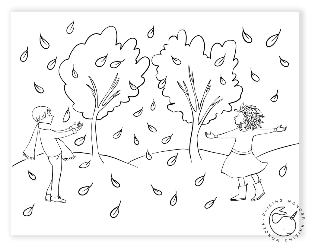 Single Coloring Page-Autumn Leaves and Kids