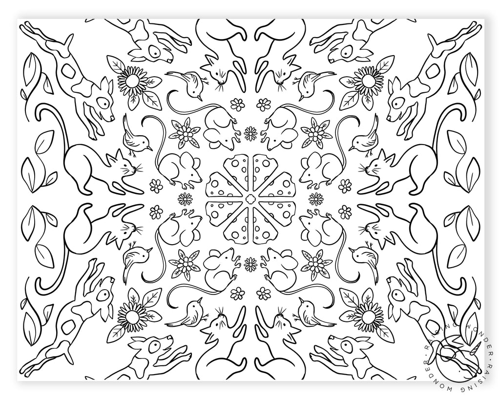 Single Coloring Page-Animal Mosaic
