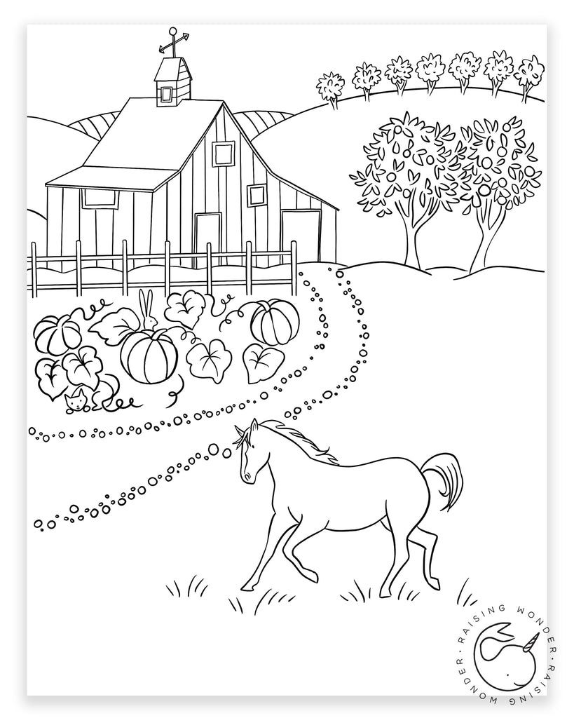Single Coloring Page-Horse and Farm
