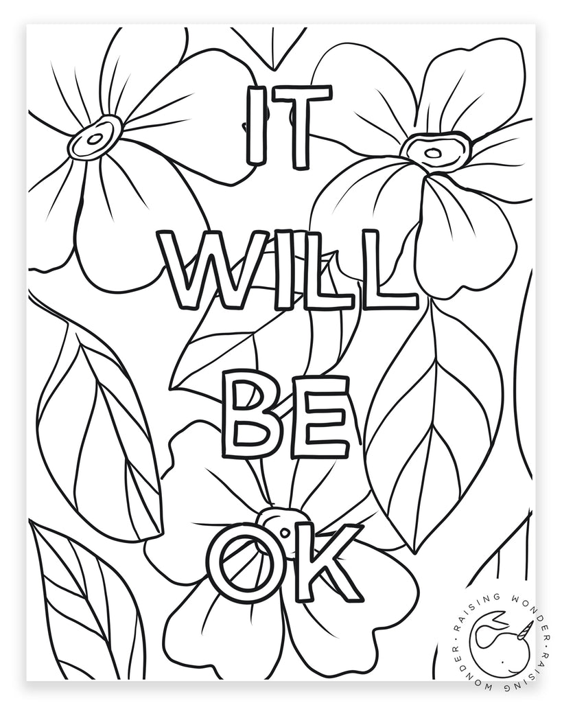 Single Coloring Page-It Will Be OK