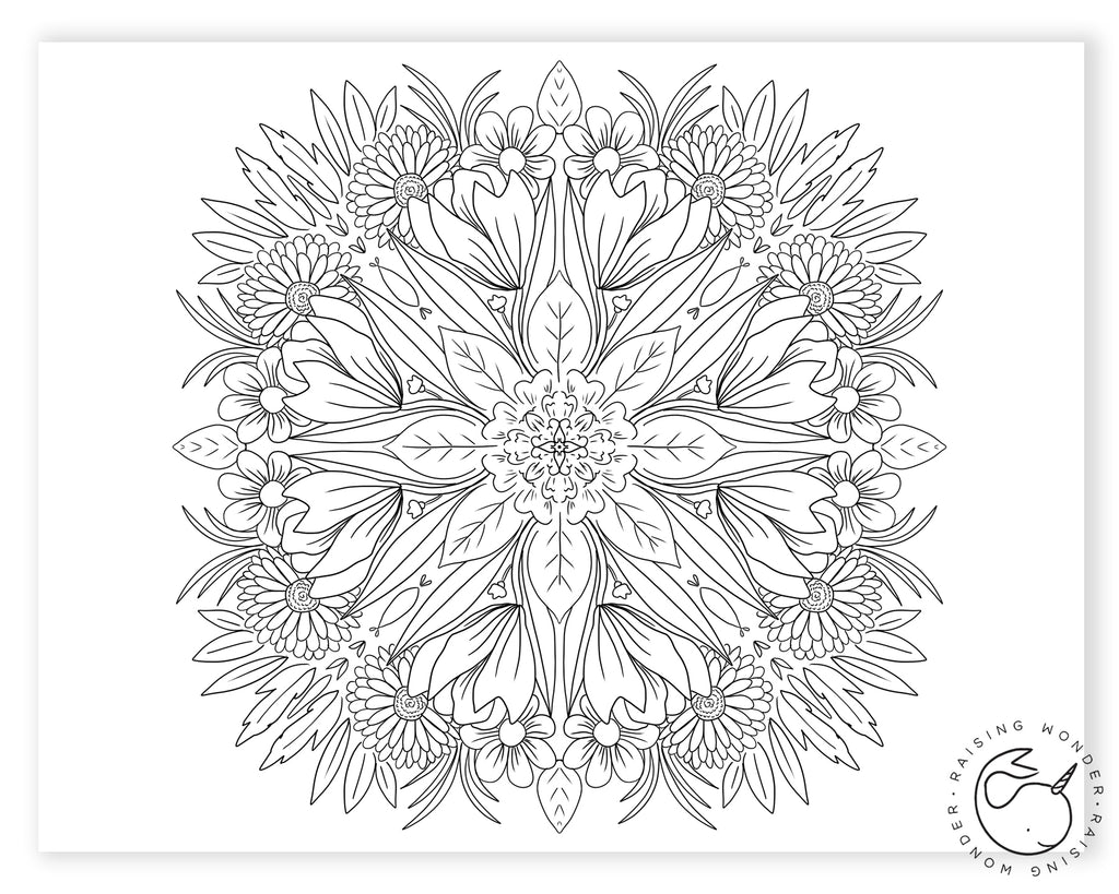 Single Coloring Page-Floral Mosaic