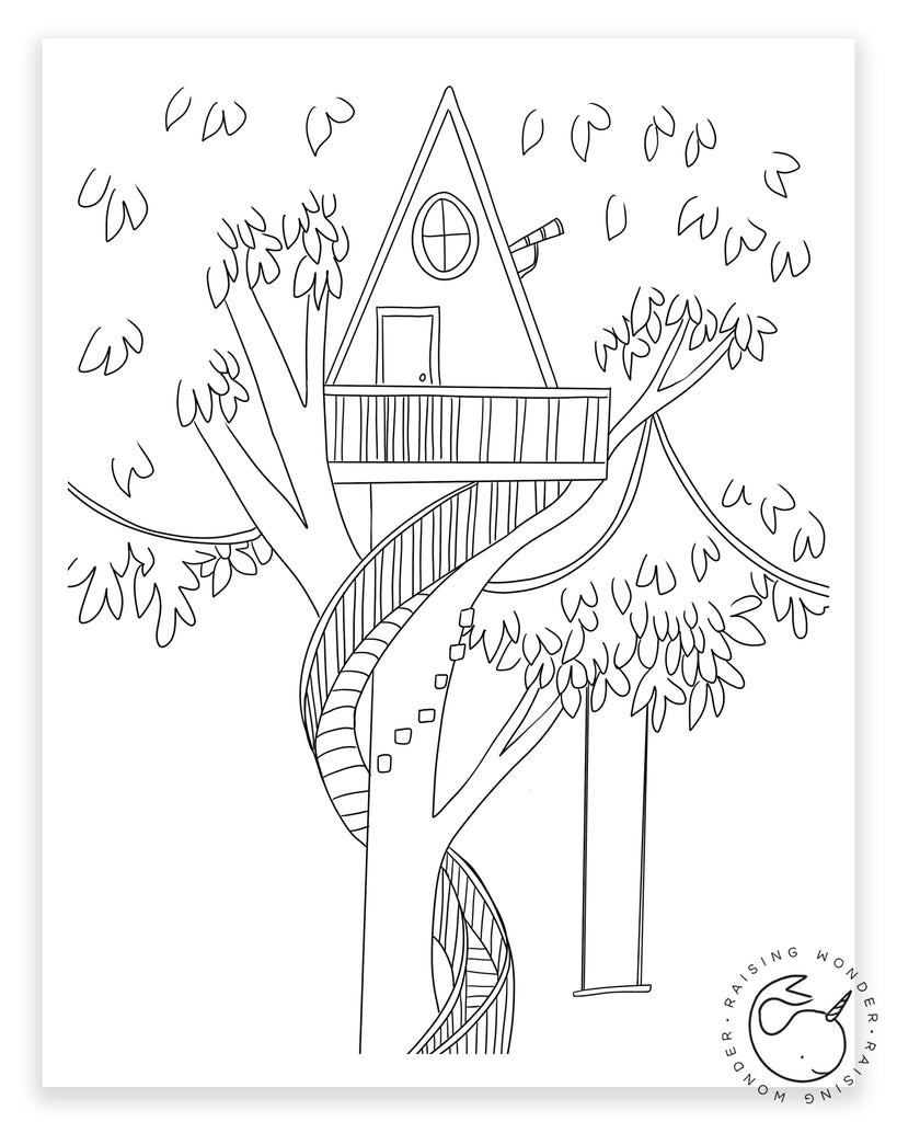 Single Coloring Page-Tree House