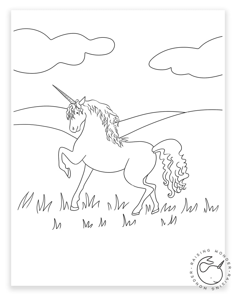 Single Coloring Page-Unicorn and Clouds