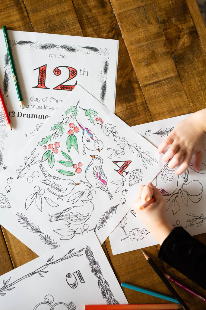 December Coloring Pages (12 Days of Christmas)