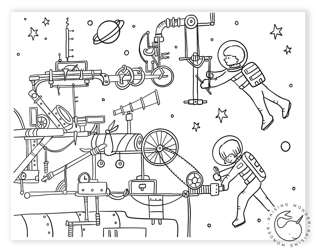 Single Coloring Page-Mechanically Minded