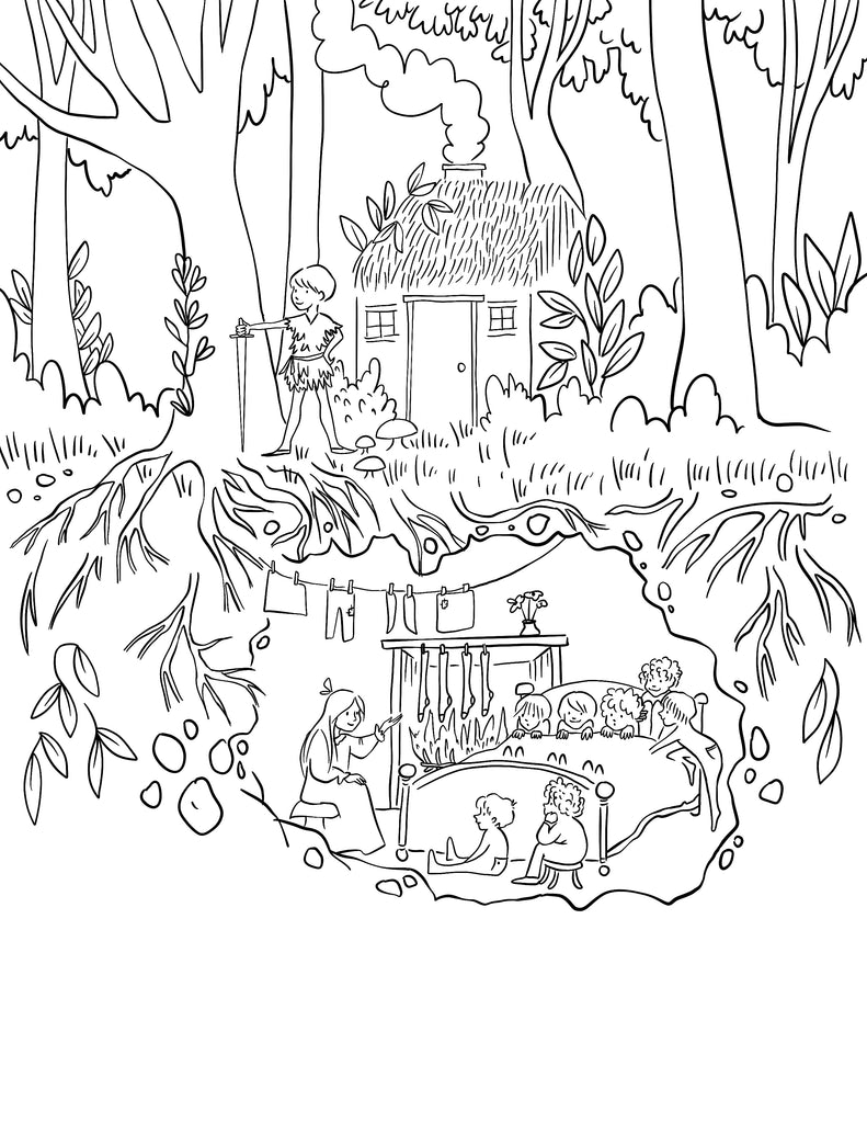 Single Coloring Page-Peter Pan House