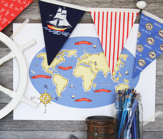 Nautical Map (Blue)
