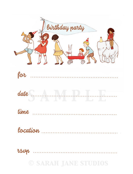 On Parade - PDF Printable Birthday Invitations