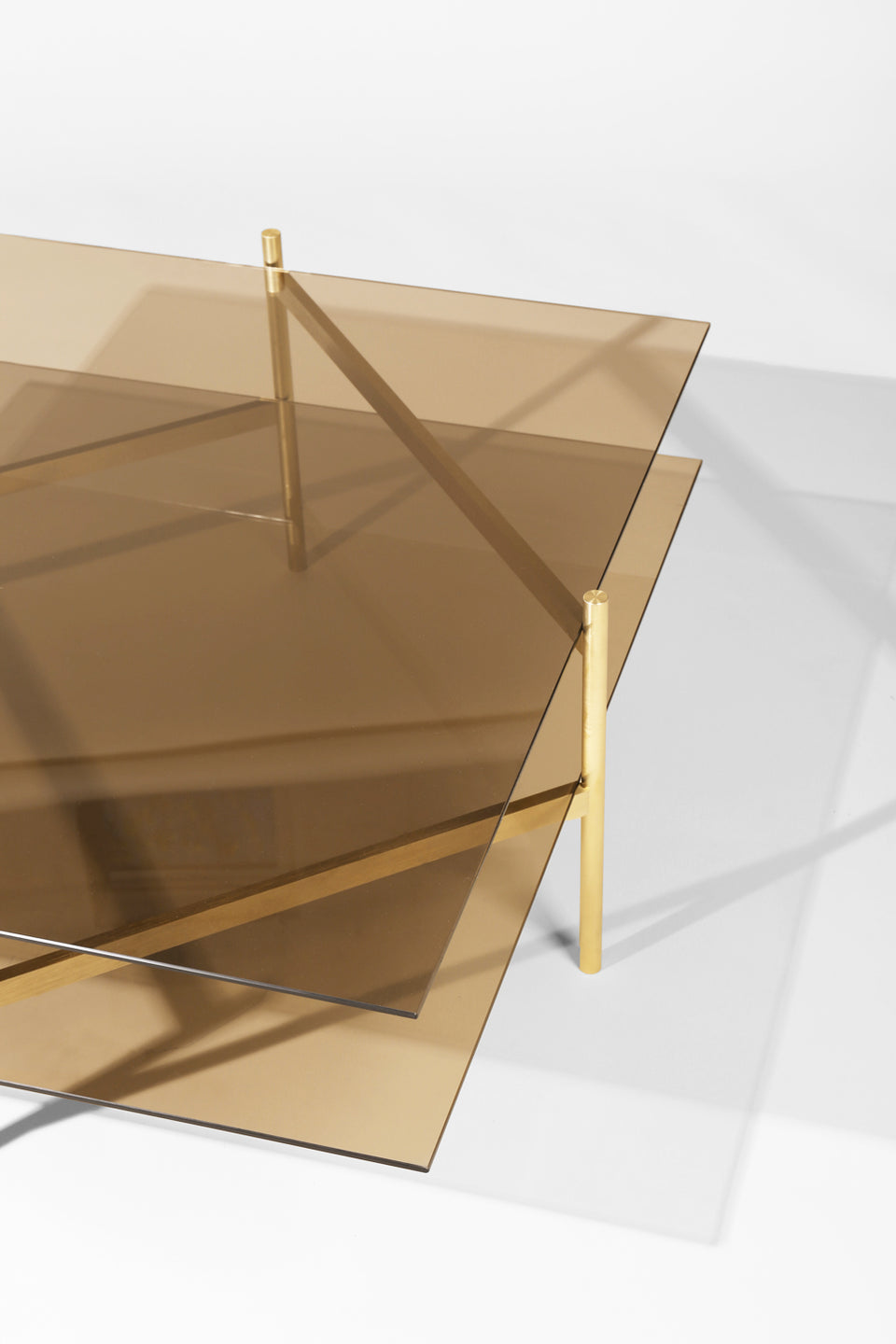 Duotone Diamond Coffee Table - Brass Frame / Bronze Glass / Bronze Glass