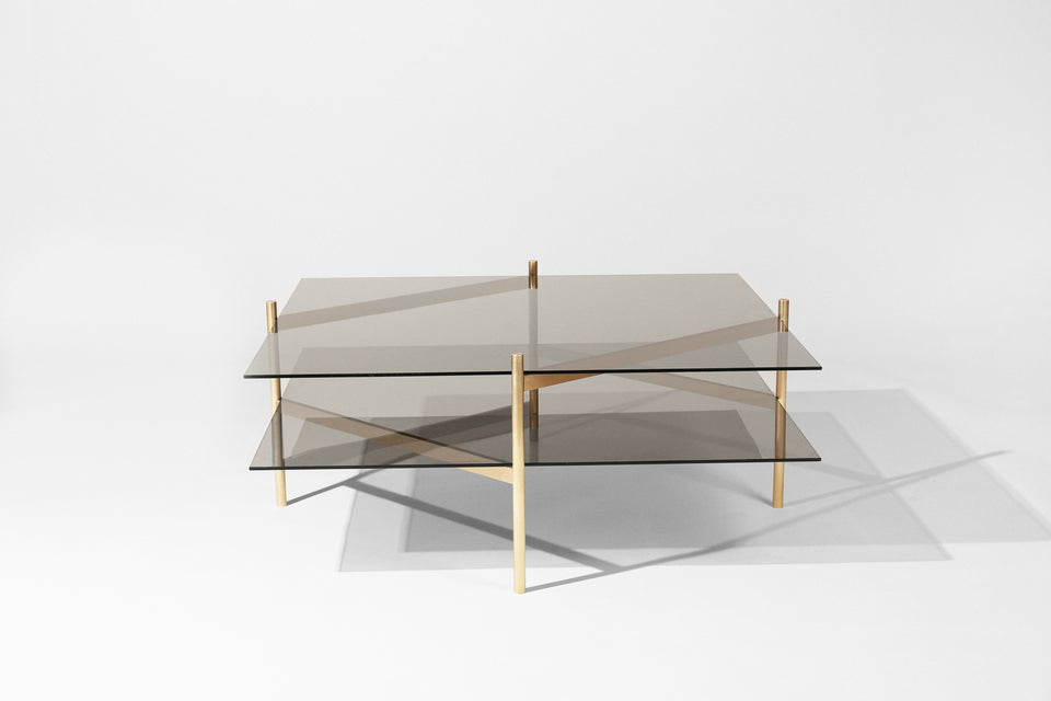 Duotone Diamond Coffee Table - Brass Frame / Smoked Glass / Smoked Glass