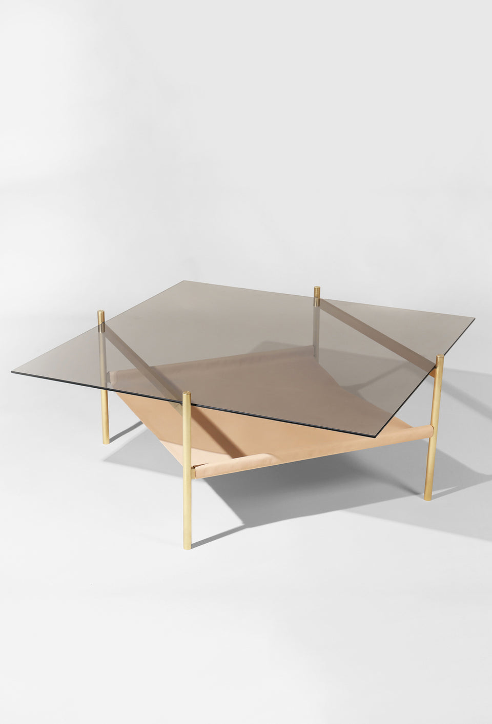 Duotone Diamond Coffee Table - Brass Frame / Smoked Glass / Natural Leather