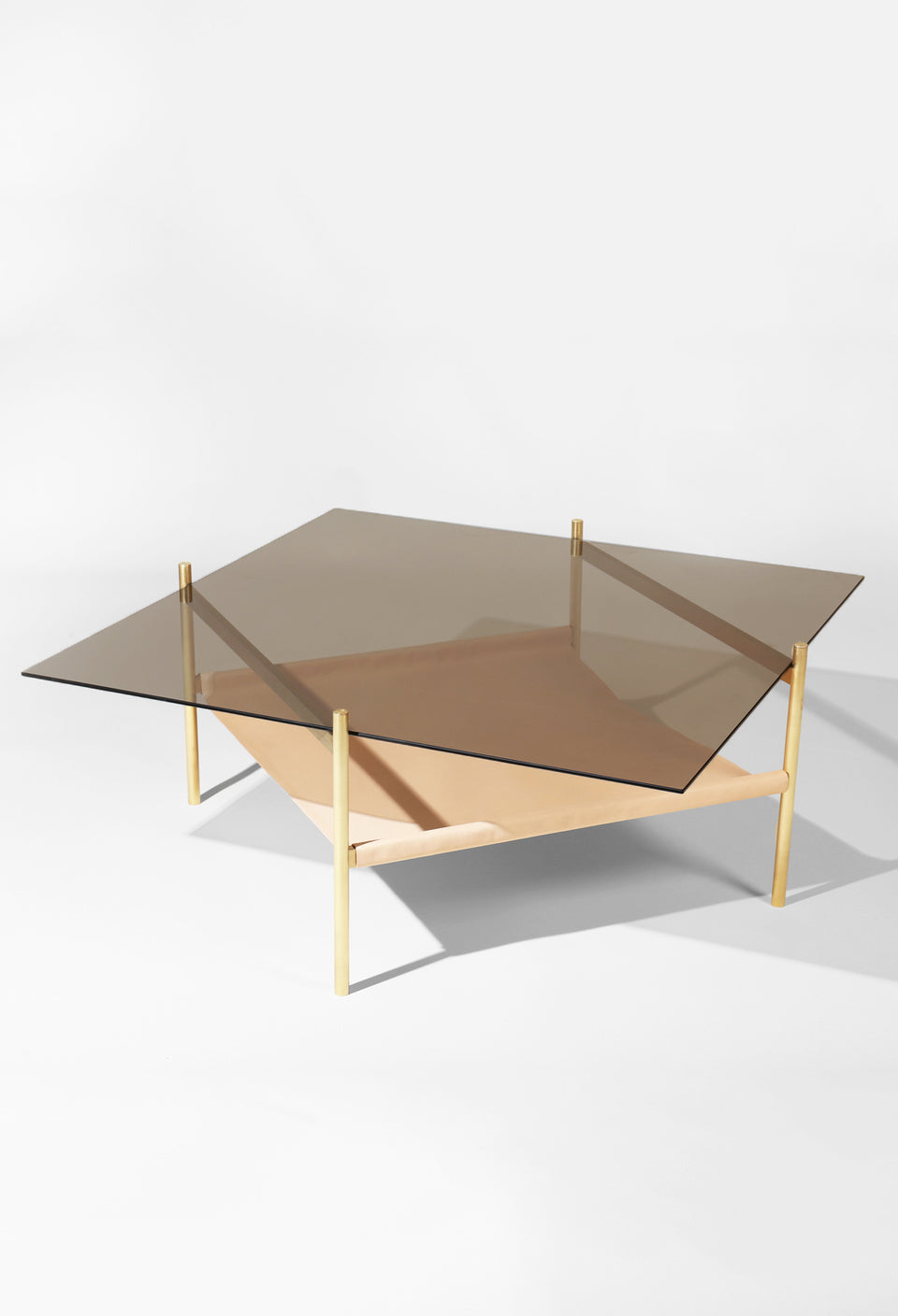 Duotone Diamond Coffee Table - Brass Frame / Bronze Glass / Natural Leather
