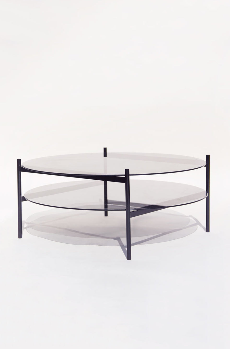 Duotone Circular Coffee Table - Black Frame / Smoked Glass / Smoked Glass