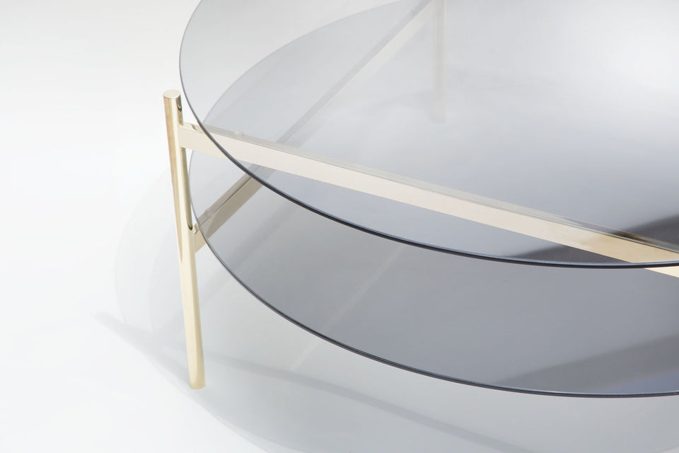 Duotone Circular Coffee Table - Brass Frame / Smoked Glass / Smoked Glass