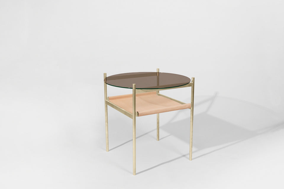 Duotone Circular Side Table - Brass Frame / Bronze Glass / Natural Leather