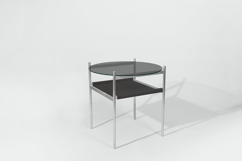 Duotone Circular Side Table - Aluminum Frame / Smoked Glass / Black Leather