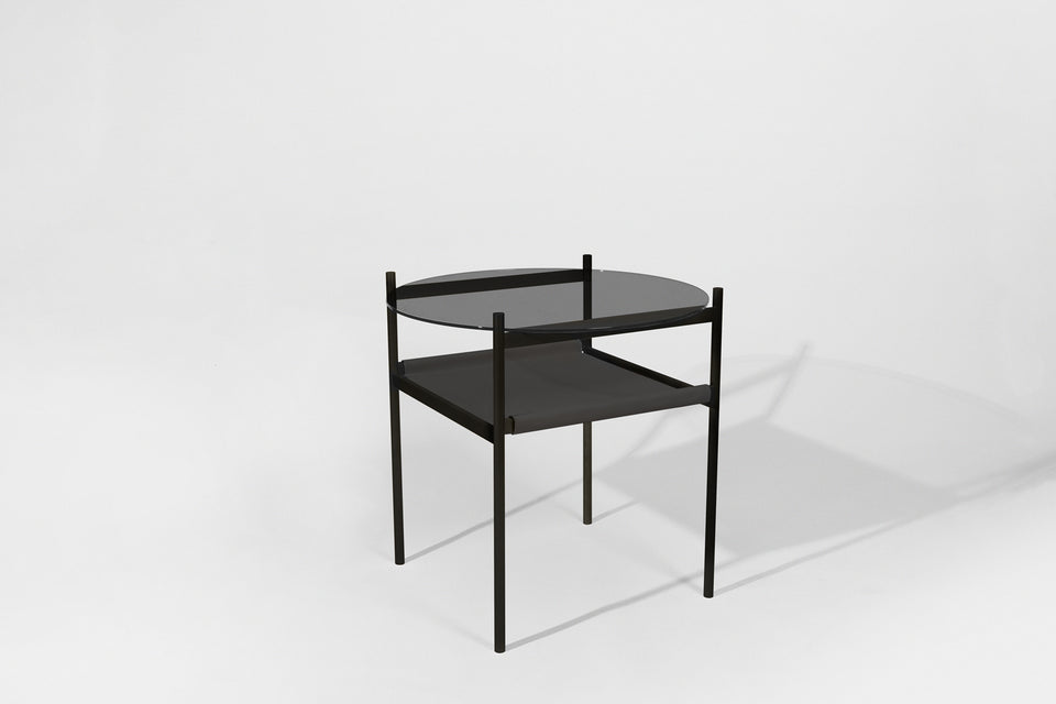 Duotone Circular Side Table - Black Frame / Smoked Glass / Black Leather