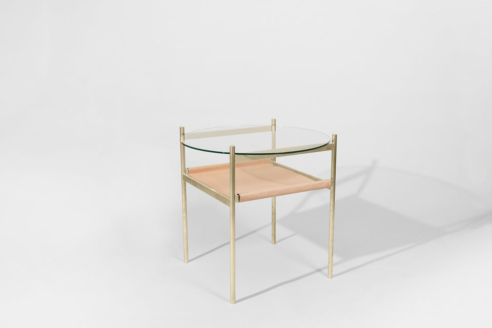Duotone Circular Side Table - Brass Frame / Clear Glass / Natural Leather