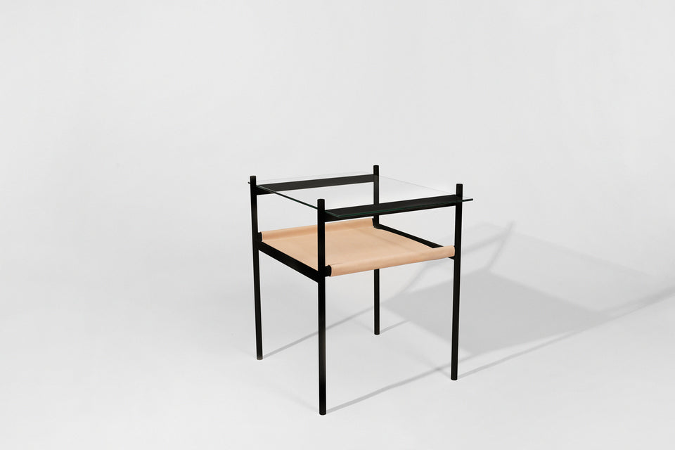 Duotone Rectangular Side Table - Black Frame / Clear Glass / Natural Leather