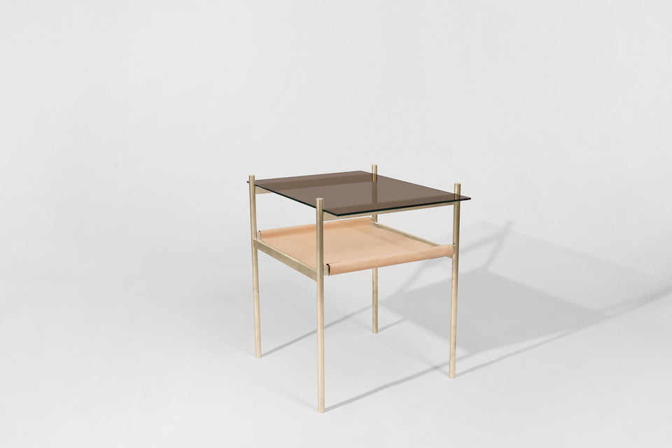 Duotone Rectangular Side Table - Brass Frame / Bronze Glass / Natural Leather