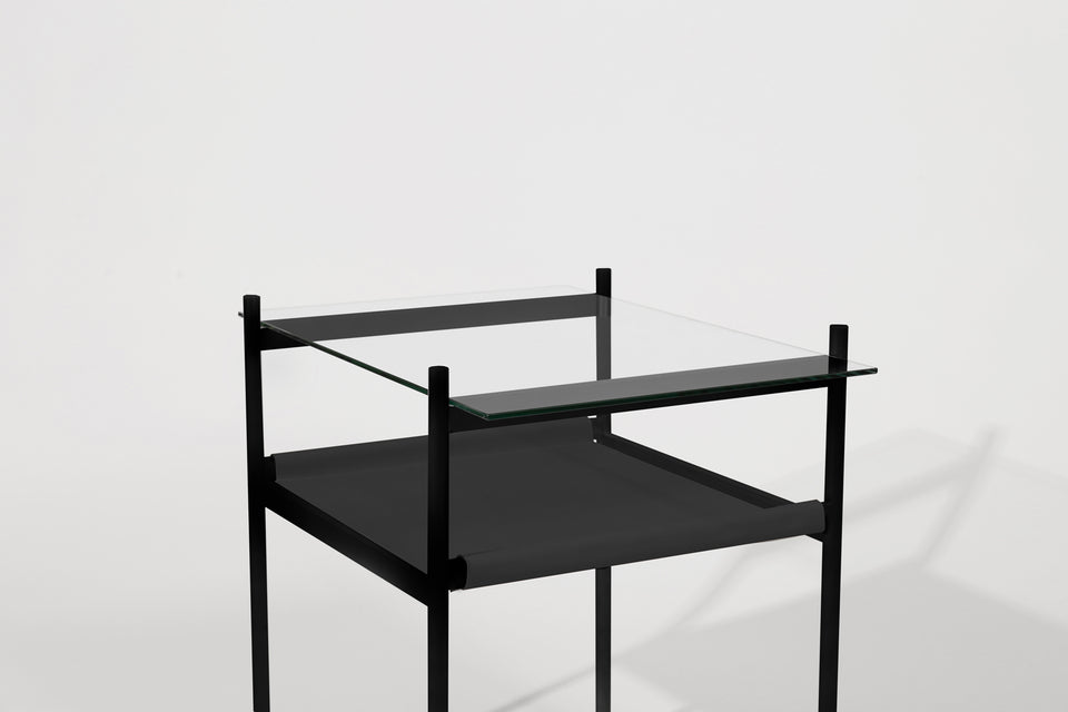 Duotone Rectangular Side Table - Black Frame / Clear Glass / Black Leather