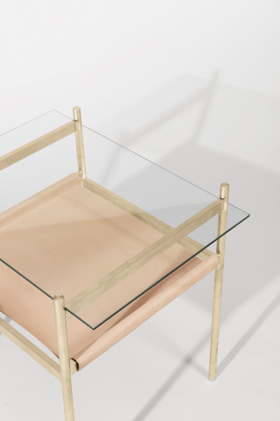 Duotone Rectangular Side Table - Brass Frame / Clear Glass / Natural Leather