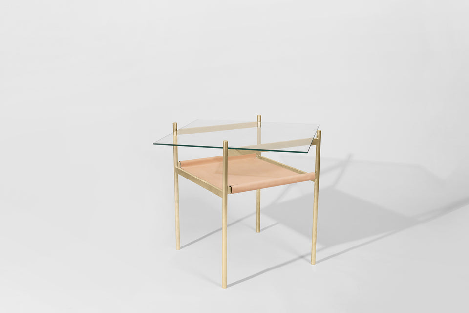 Duotone Diamond Side Table - Brass Frame / Clear Glass / Natural Leather