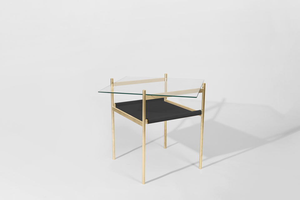 Duotone Diamond Side Table - Brass Frame / Clear Glass / Black Leather