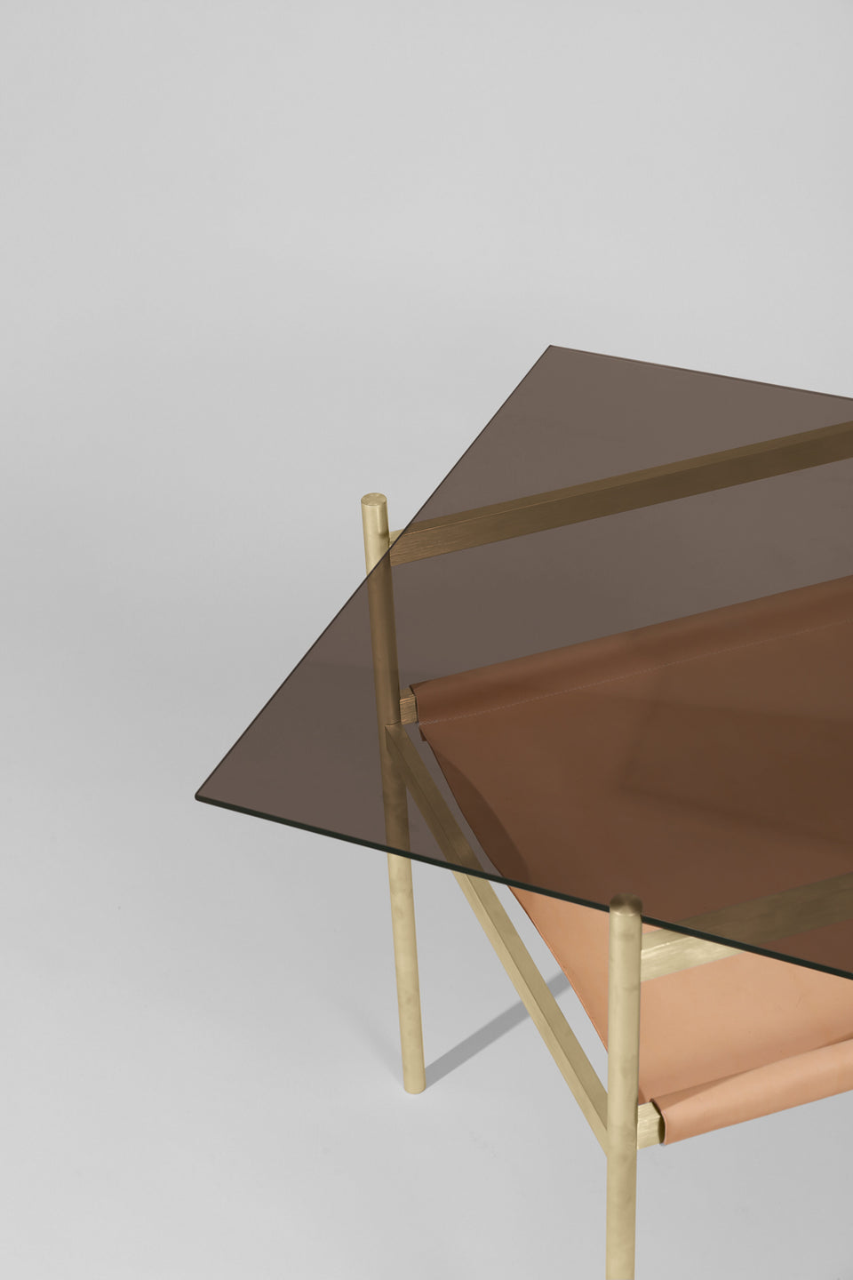Duotone Diamond Side Table - Brass Frame / Bronze Glass / Natural Leather