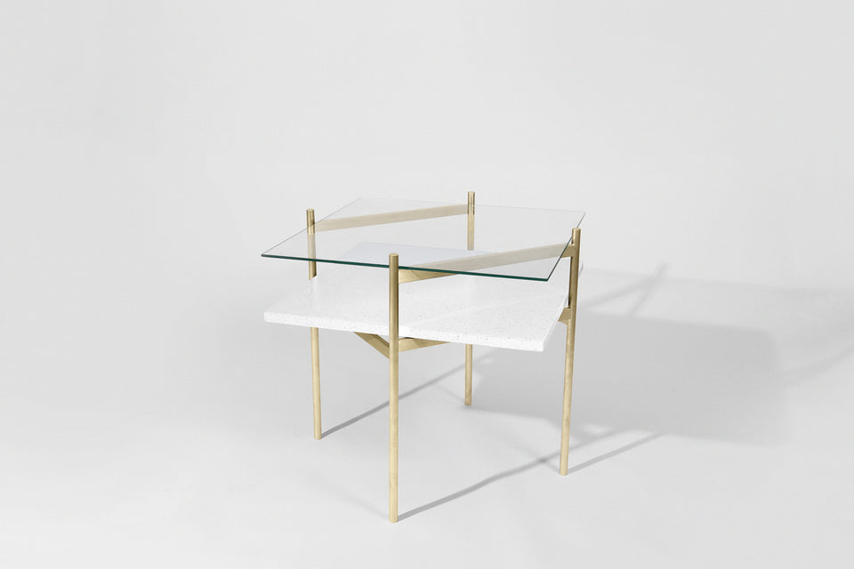 Duotone Diamond Side Table - Brass Frame / Clear Glass / White Mosaic