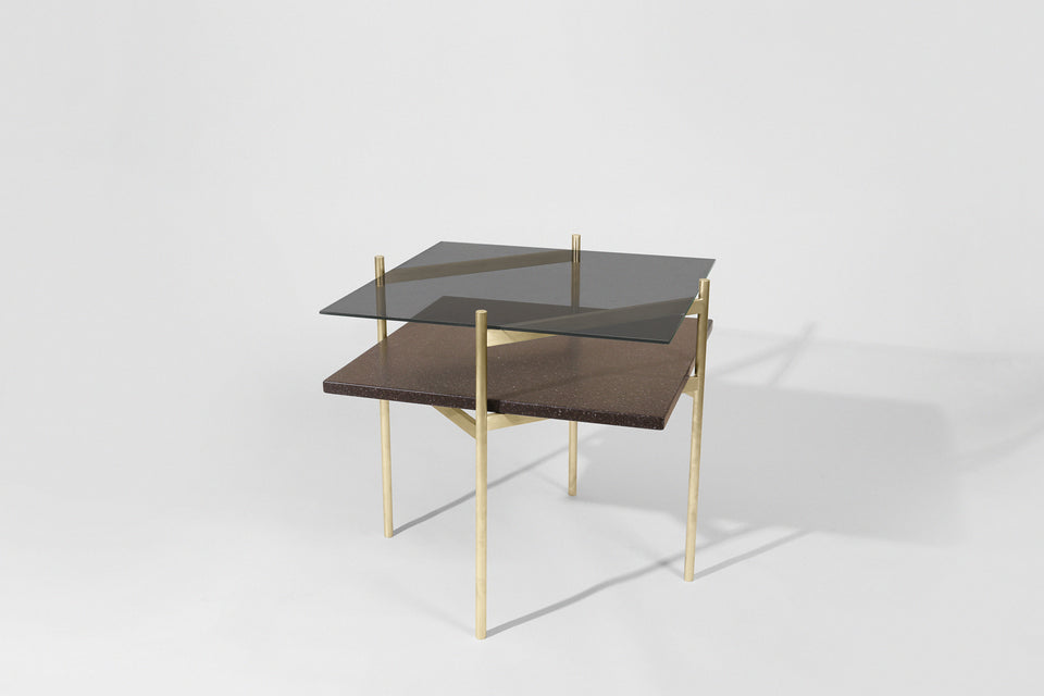 Duotone Diamond Side Table - Brass Frame / Smoked Glass / Black Mosaic