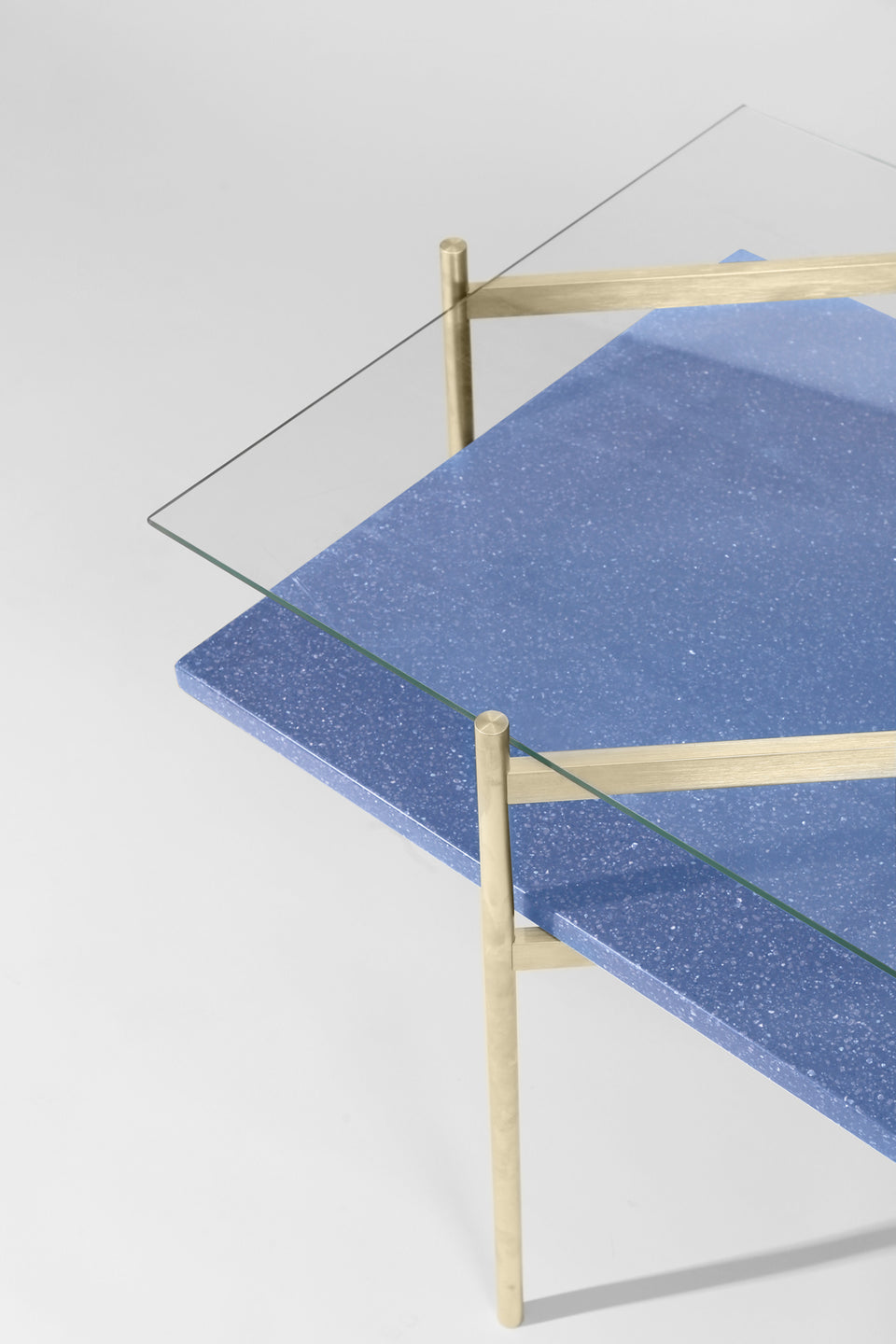 Duotone Diamond Side Table - Brass Frame / Clear Glass / Blue Mosaic