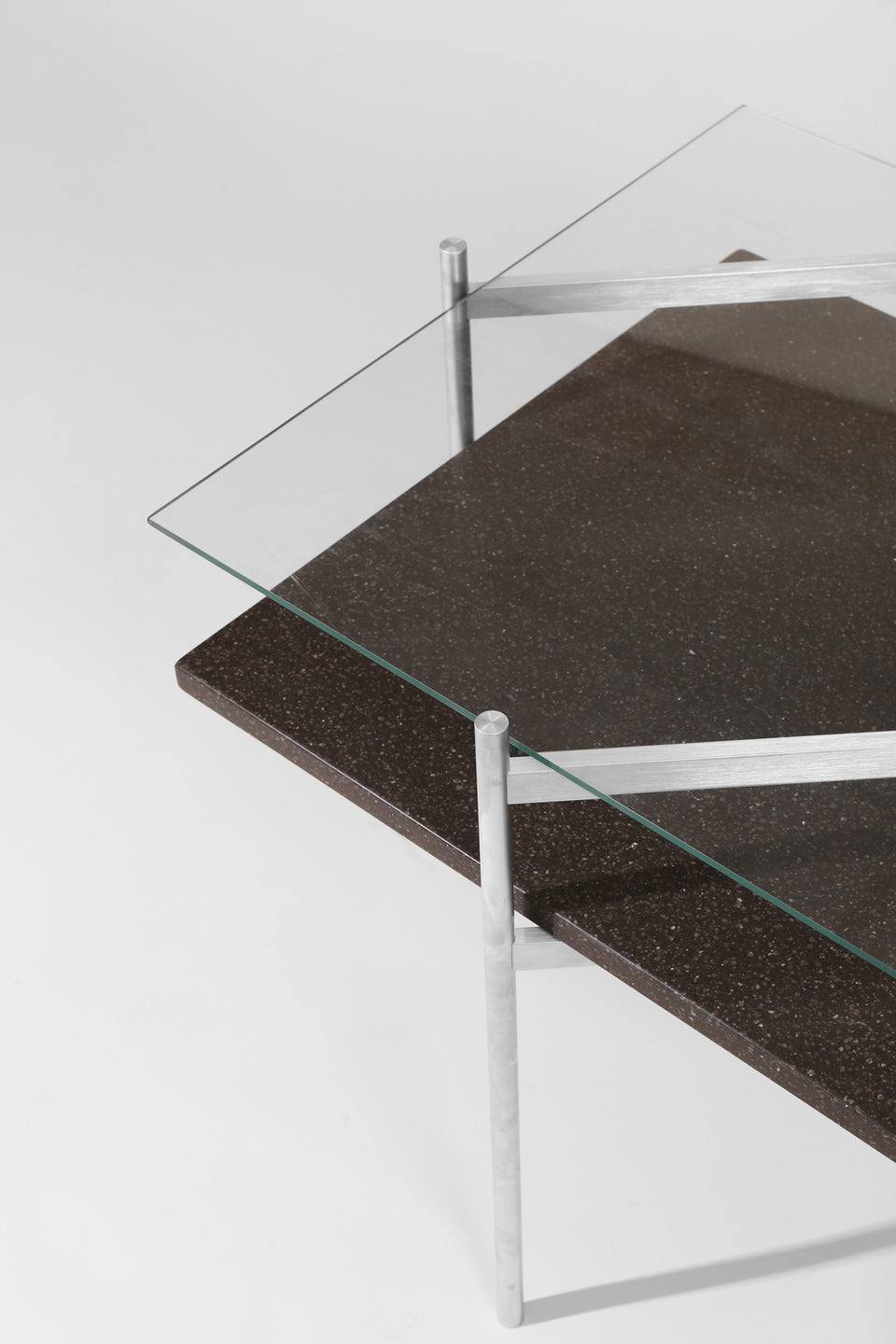 Duotone Diamond Side Table - Aluminum Frame / Clear Glass / Black Mosaic
