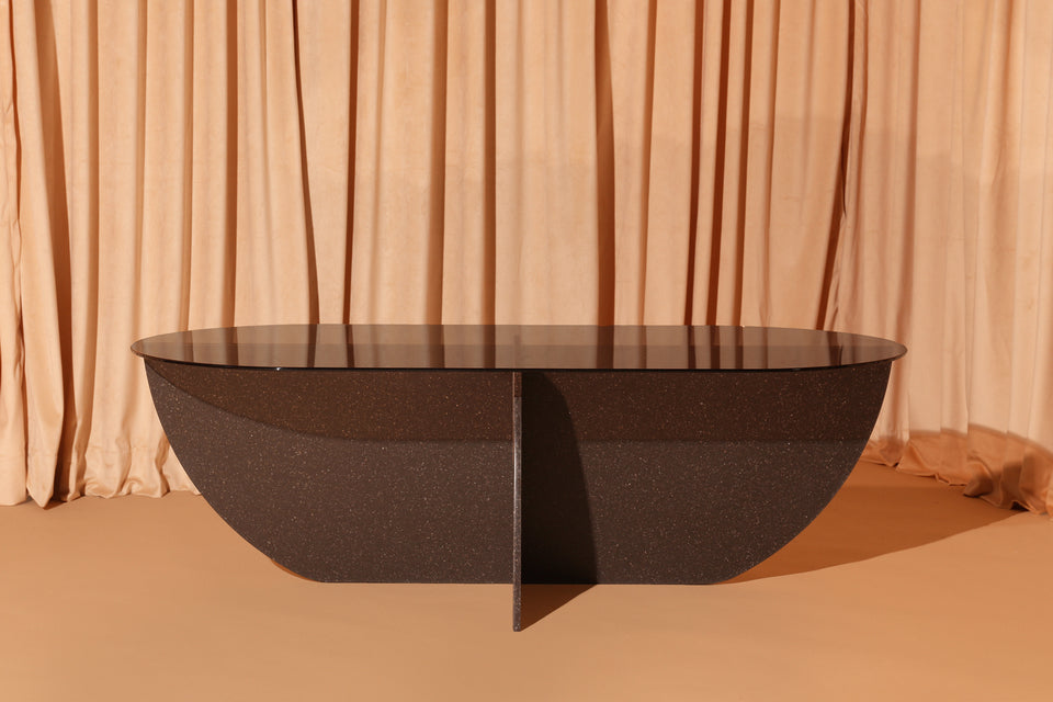 Aurora Coffee Table - Black Mosaic Base / Bronze Glass