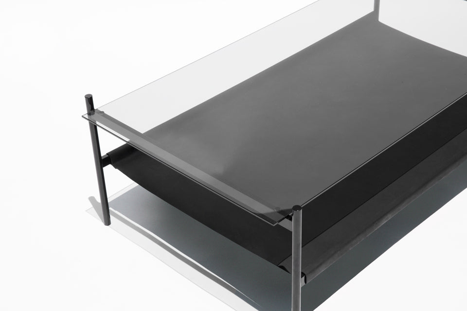 Duotone Rectangular Coffee Table - Black Frame / Smoked Glass / Black Leather