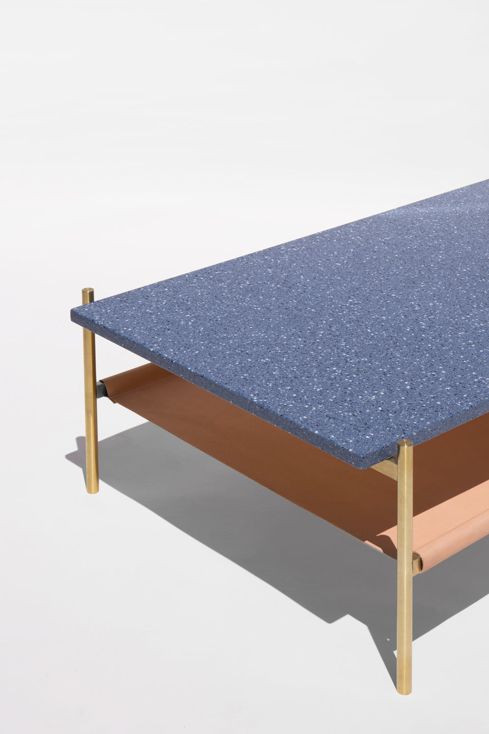 Duotone Rectangular Coffee Table - Brass Frame / Blue Mosaic / Natural Leather