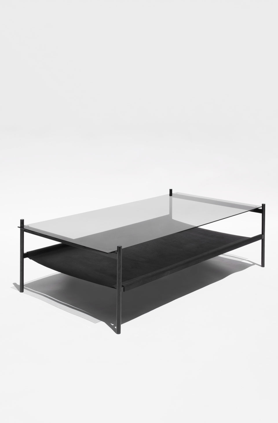 Exceptionnel Duotone Rectangular Coffee Table   Black Frame / Smoked Glass / Black  Leather